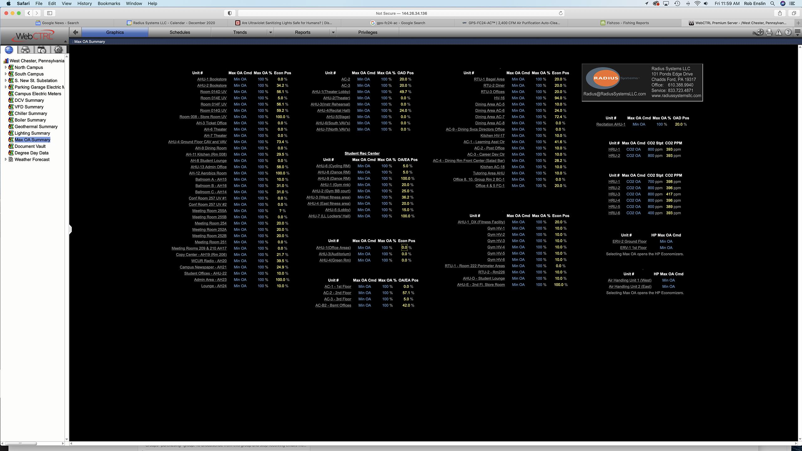 WebCTRL, Automated Logic, ALC, Radius Systems, Ventilation